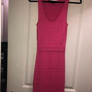 French connection pink crochet midi dress